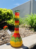"10"" Heavy Glass Beaker Base Rasta Designer Bong"