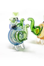 "4"" Green Swirl Elephant Hand Pipe w/ Bowl Pc"