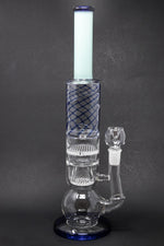 "16"" Blue Bubble Bottom Double Honeycomb Bong"
