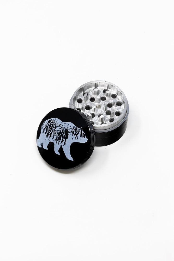 4 pc Black Cali Bear Magnetic Metal Grinder w/ Sharp Teeth