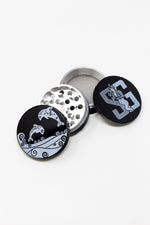 Black 4 pc Black Twin Dolphin Magnetic Metal Grinder w/ Sharp Teeth StonedGenie.com Grinders