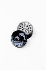 Black 4 pc Black Twin Dolphin Magnetic Metal Grinder w/ Sharp Teeth