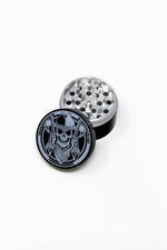 4 pc Black Cowboy Skull Magnetic Metal Grinder w/ Sharp Teeth