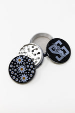 Black 4 Piece Magnetic Daisy Metal Grinder w/ Sharp Teeth StonedGenie.com Grinders
