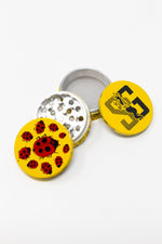 Gold 4 pc Magnetic Yellow Lady Bug Metal Grinder w/ Sharp Teeth StonedGenie.com Grinders