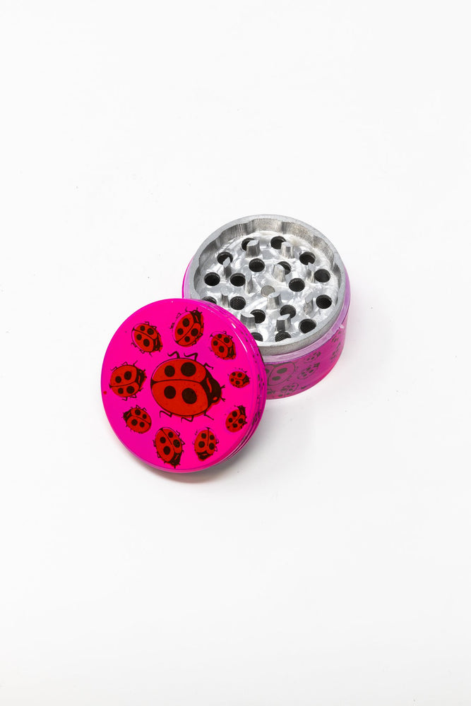 Deep Pink 4 pc Magnetic Pink Lady Bug Metal Grinder w/ Sharp Teeth