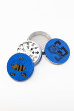 Royal Blue 4 pc Magnetic Blue Bumble Bee Metal Grinder w/ Sharp Teeth StonedGenie.com Grinders