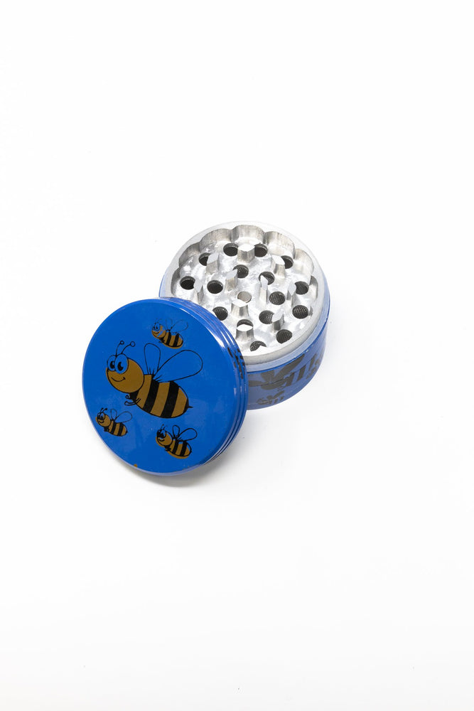 Dark Cyan 4 pc Magnetic Blue Bumble Bee Metal Grinder w/ Sharp Teeth StonedGenie.com Grinders