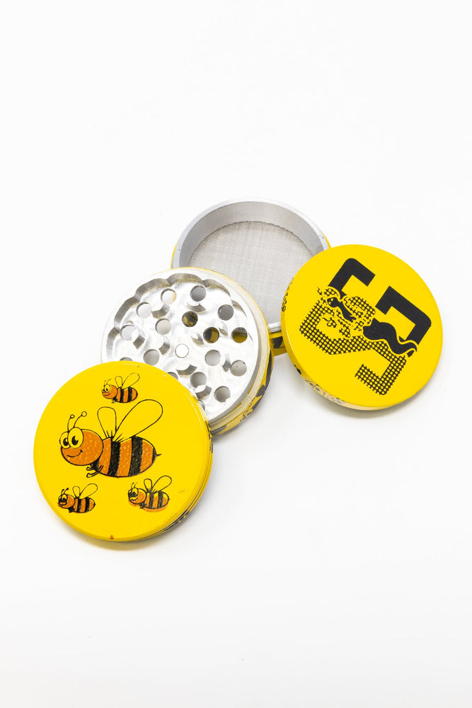 Gold 4 pc Magnetic Yellow Bumble Bee Metal Grinder w/ Sharp Teeth StonedGenie.com Grinders