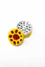 Gold 4 pc Magnetic Yellow Lady Bug Metal Grinder w/ Sharp Teeth