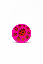Deep Pink 4 pc Magnetic Pink Lady Bug Metal Grinder w/ Sharp Teeth StonedGenie.com Grinders