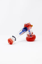 "7"" Premium Red Glass Hammer Bubbler w/ Percolator"