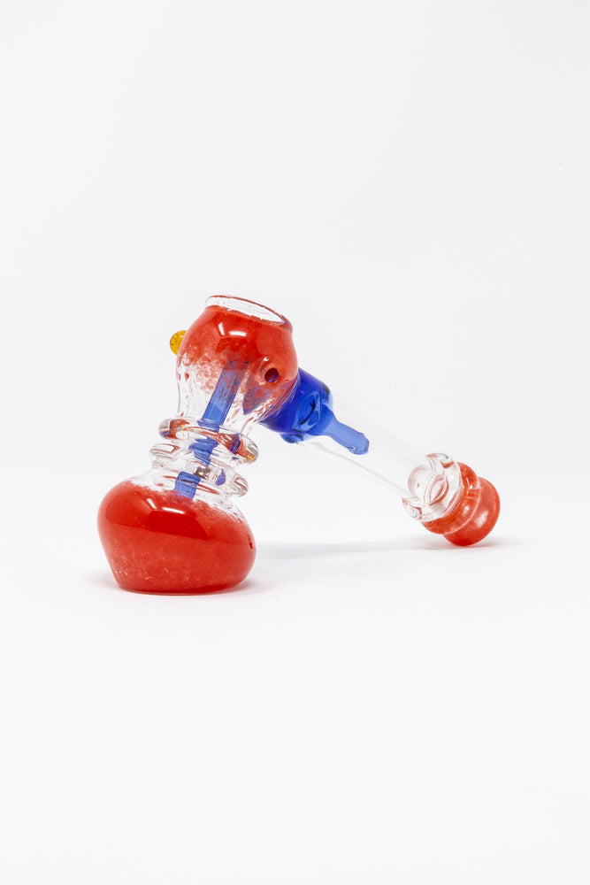 "Firebrick 7"" Premium Red Glass Hammer Bubbler w/ Percolator StonedGenie.com Bubblers"