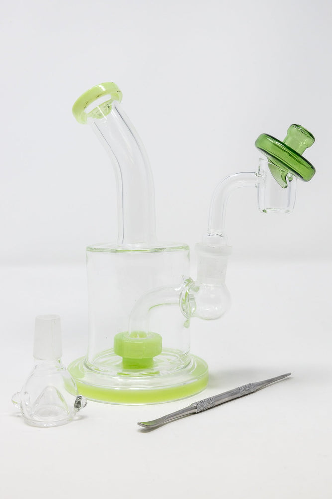 6.5 Inch Stoned Genie Green Flat Base Dab Rig Combo Set