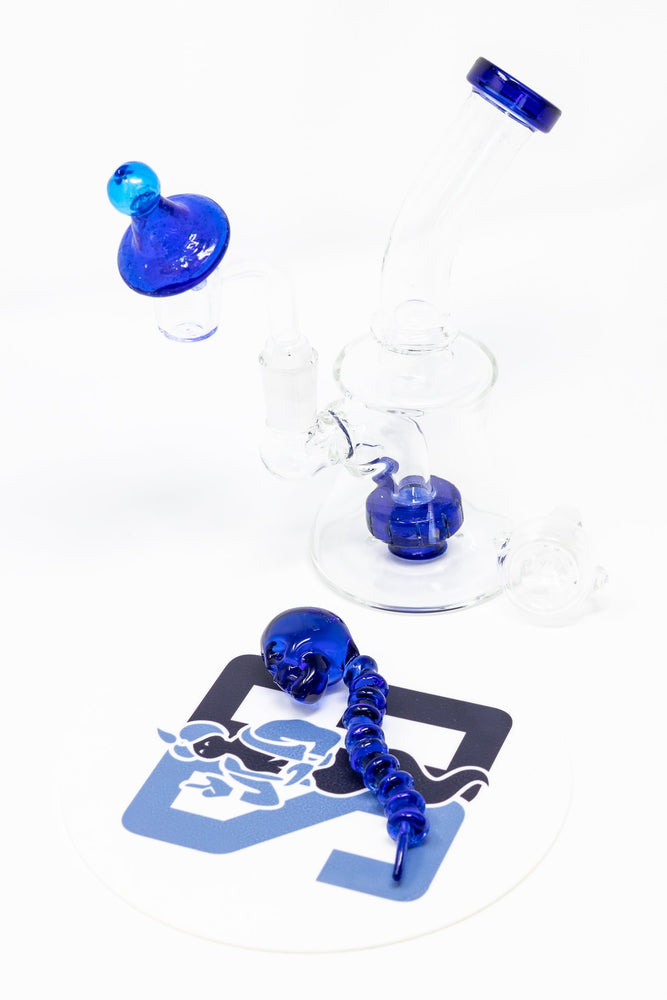 "Midnight Blue 6"" Stoned Genie Blue Dab Rig Combo Set"
