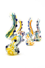 "6"" Premium Glass Dinosaur Swirl Bubbler w/ Carb Hole"