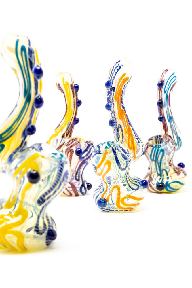 "White Smoke 6"" Premium Glass Dinosaur Swirl Bubbler w/ Carb Hole StonedGenie.com Bubblers"