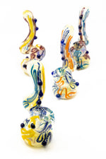 "Goldenrod 6"" Premium Glass Dinosaur Swirl Bubbler w/ Carb Hole"