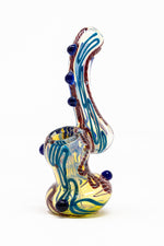 "Steel Blue 6"" Premium Glass Dinosaur Swirl Bubbler w/ Carb Hole StonedGenie.com Bubblers"