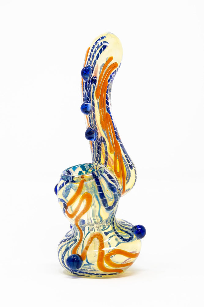 "Chocolate 6"" Premium Glass Dinosaur Swirl Bubbler w/ Carb Hole StonedGenie.com Bubblers"