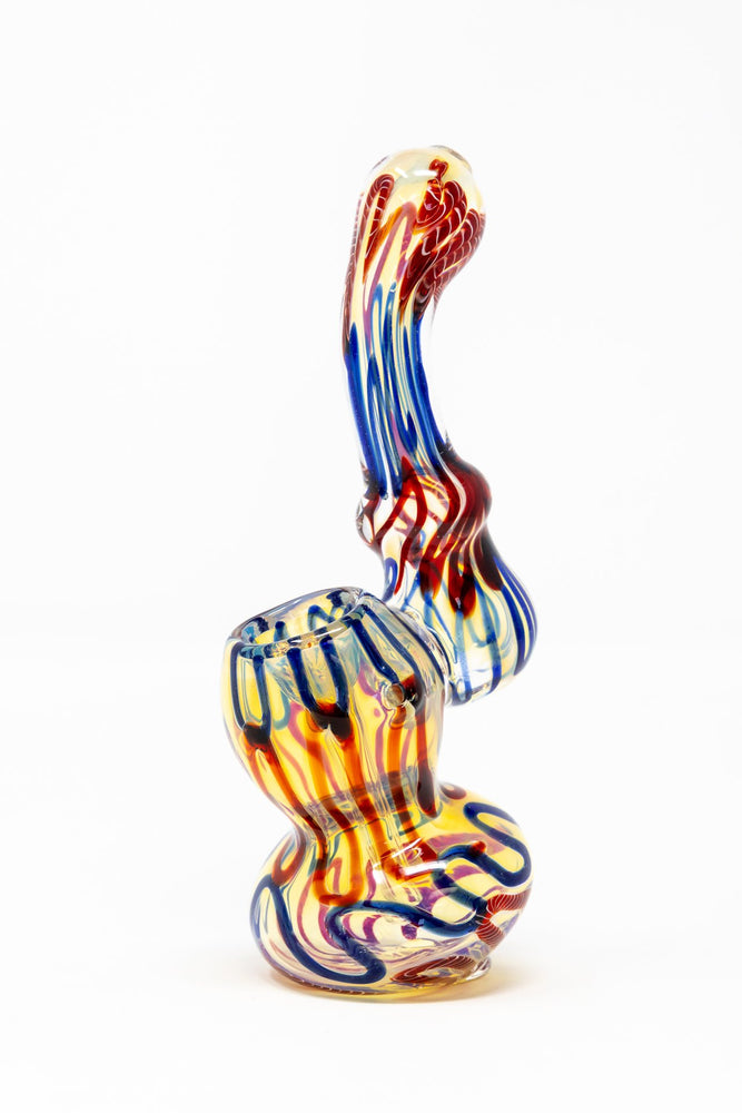 "Dark Slate Blue 6"" Premium Glass Fumed Swirl Bubbler w/ Carb Hole StonedGenie.com Bubblers"