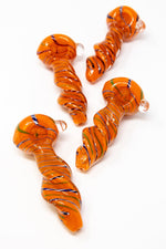 "Chocolate 5"" Orange Twisted Thick Glass Spoon Hand Pipe w/ Carb Hole StonedGenie.com Glass Pipes"