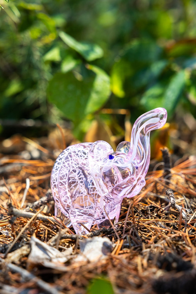 "White Smoke 3"" Pink Elephant Swirl Glass Hand Smoking Pipe"