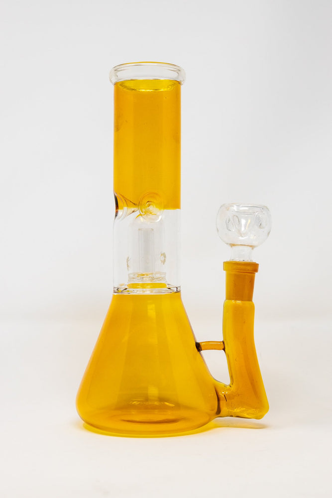 Goldenrod 8 Inch Golden Yellow Side Joint Bong w/ Ice Catcher and Percolator StonedGenie.com Bong