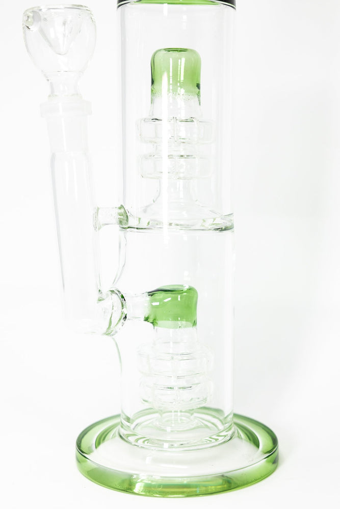 "14"" Stoned Genie Green Double Percolator Bong"