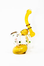 "7"" Premium Heavy Amber Double Chamber Bubbler w/ Carb Hole"