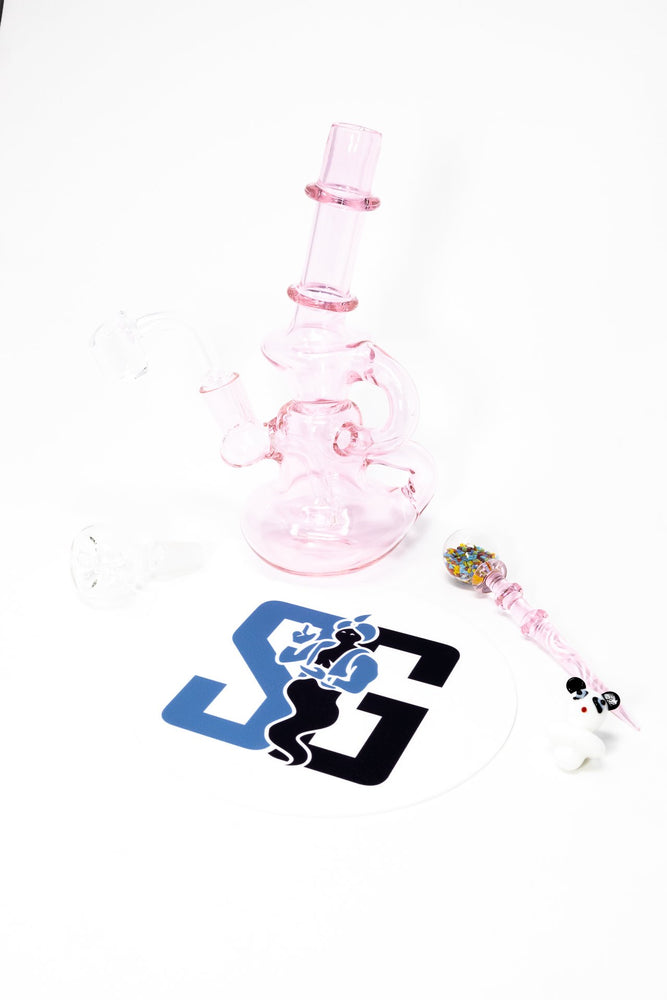 "6"" Stoned Genie Pink Recycler Dab Rig Combo Set"
