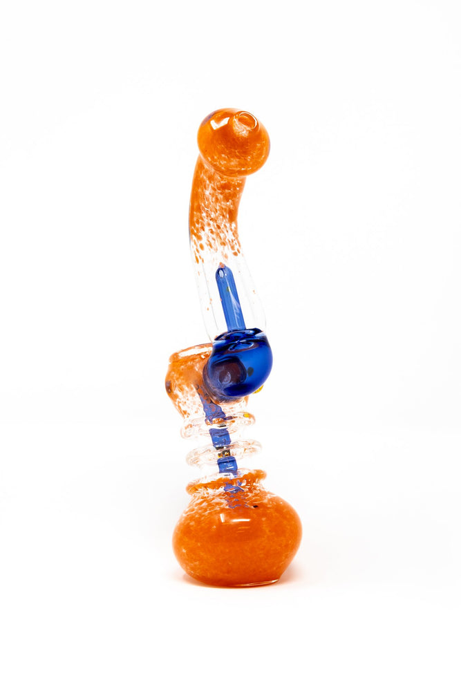 "7"" Orange/Blue Sherlock Glass Bubbler w/ Percolator"