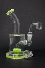 "Lime Green Smoke 6"" Flat Base Shower Bend Dab Rig StonedGenie.com Dab rig"