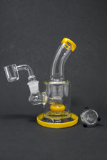 "6"" Yellow Flat Base Shower Bend Dab Rig"