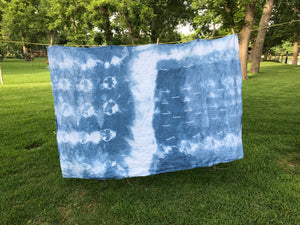 """Santa Barbara"" Indigo Shibori Linen Throw"