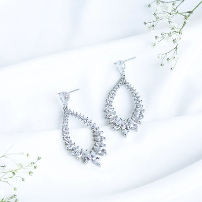 cubic zirconia chandelier crystal earrings teardrop shape earring