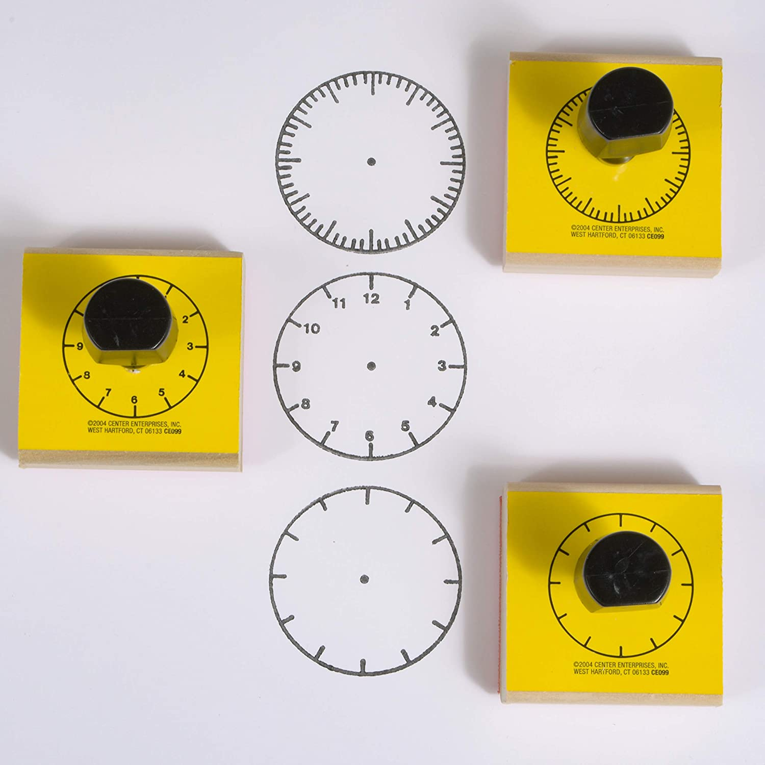Three Clock Faces Stamps Set, Montessori ⏰ 木製時鐘印章一套三款組合, 趣味自由DIY練習