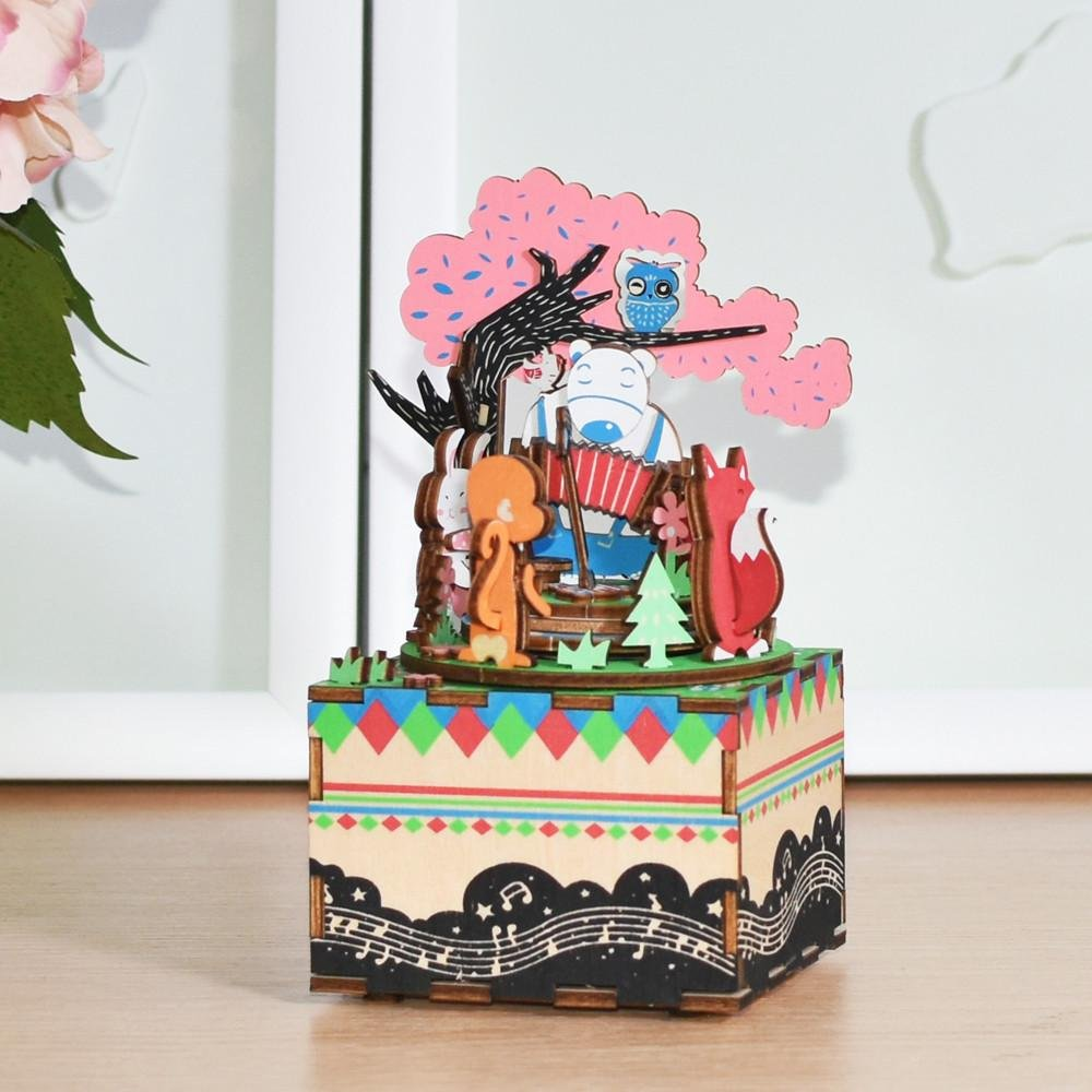 DIY 3D Wooden Puzzle Music Box Forest Concert