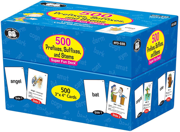500 Prefixes, Suffixes, and Stems Fun Deck Words & Definitions Flash Cards