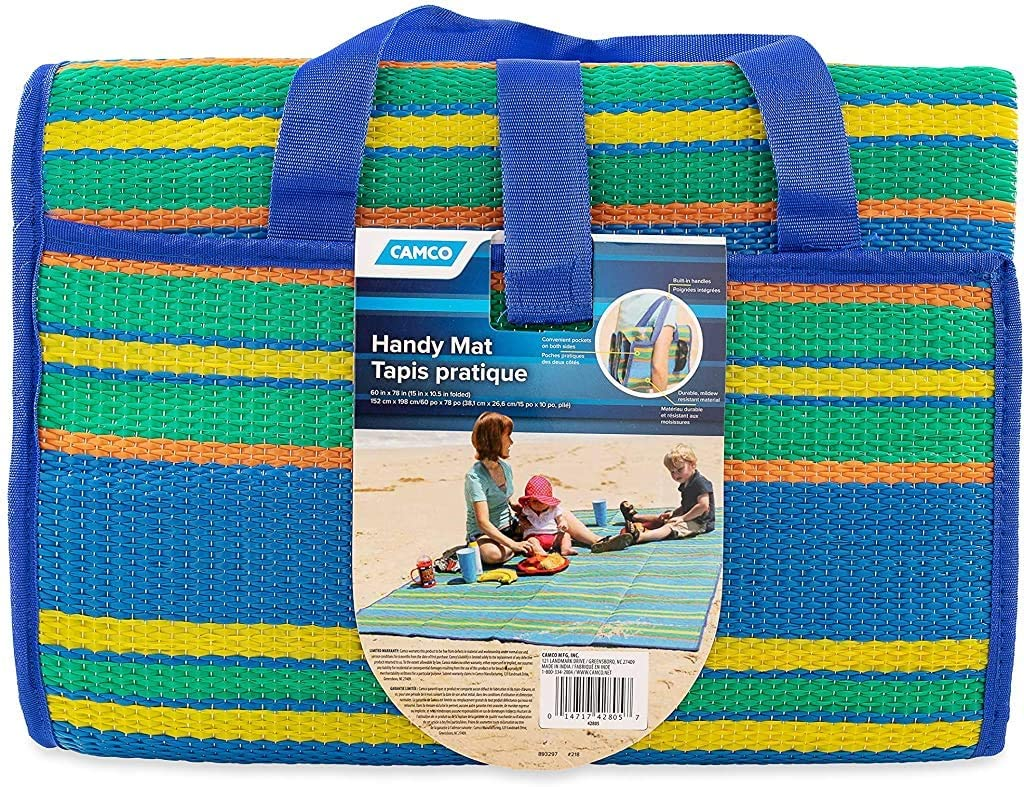 "Camco Handy Mat with Strap - Blue/Green - 60"" x 78"" 家庭裝沙灘𥱊, 六尺半長"