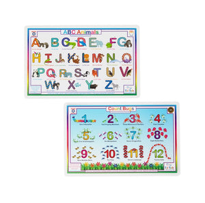 Animal ABCs & Count Bugs Activity Place Mat Set