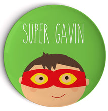 "Load image into Gallery viewer, Superhero 10"" Personalized Plate, BPA-free 自定名字碟 (Pre-order)"
