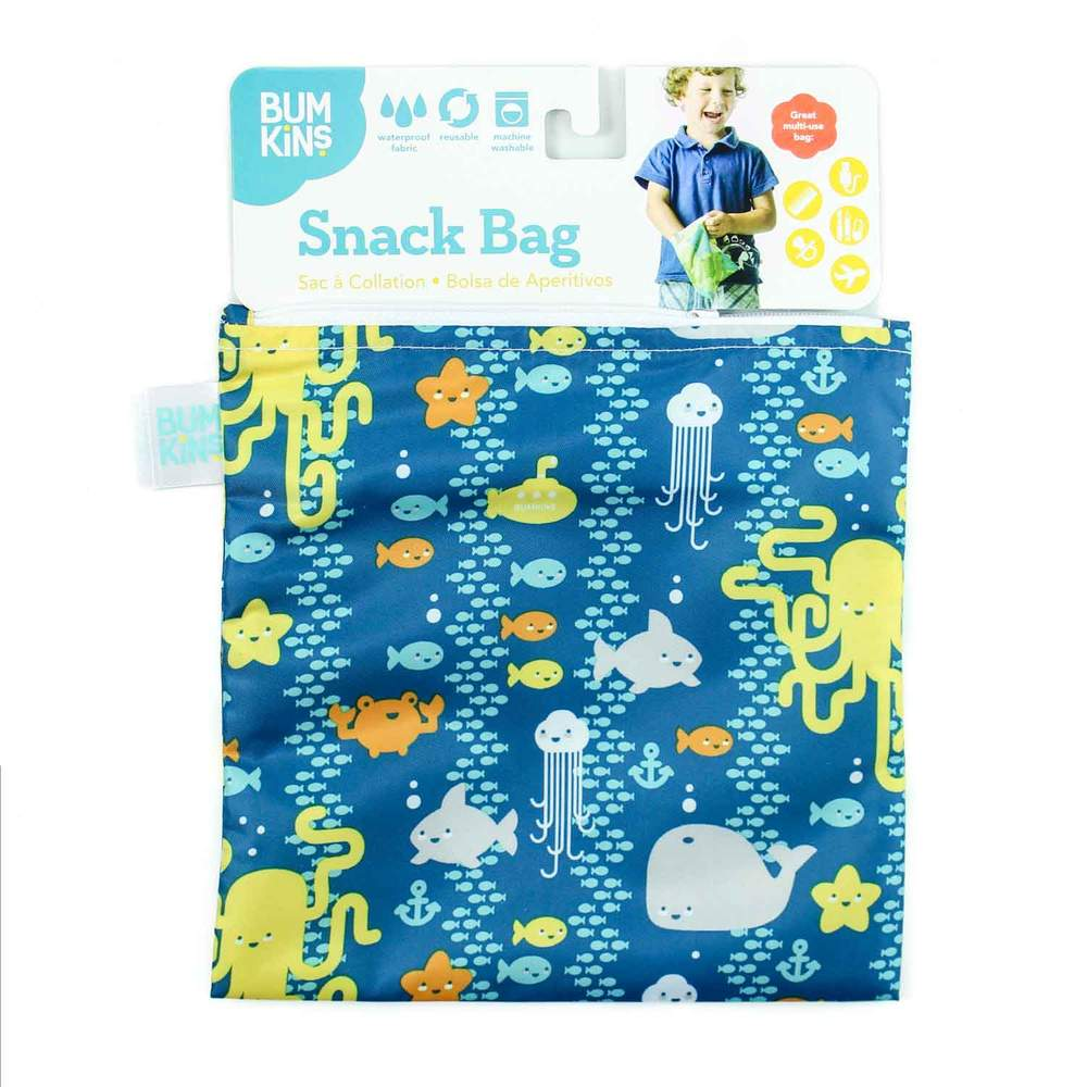 Bumkins Snack Bag Set of 2 - Blue Sea Friends, BPA Free 食用級環保食物拉鏈袋, 一套2個
