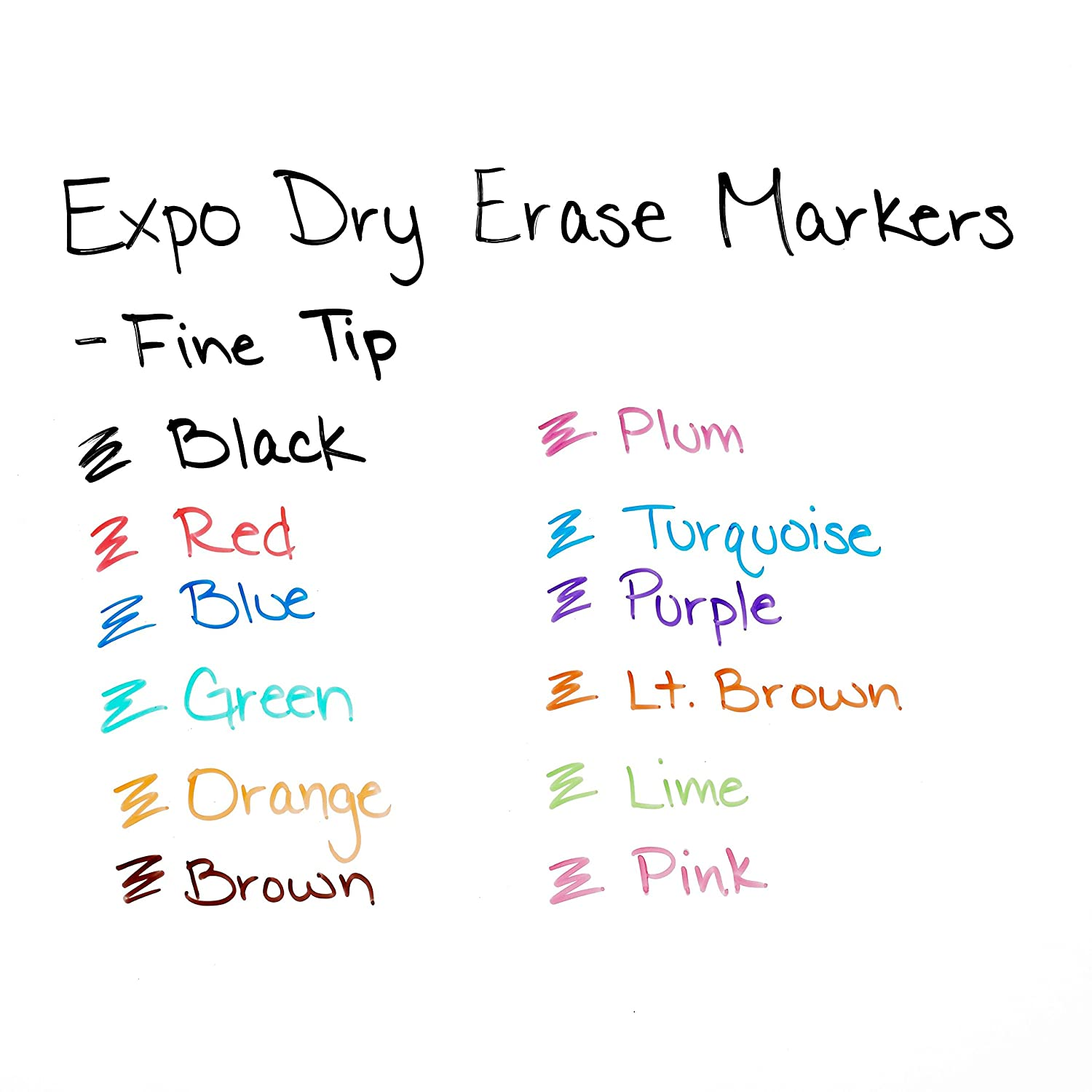 EXPO Low Odor Dry Erase Markers, Fine Tip, Assorted Colors, 12 Pack