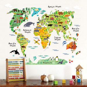 Large Kids Educational Animal Landmarks World Map Peel & Stick Wall Decals Stickers