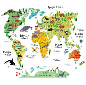 Animal Landmarks World Map