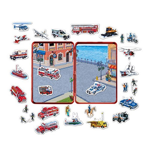 Emergency Vehicles Magnetic Tin Playset