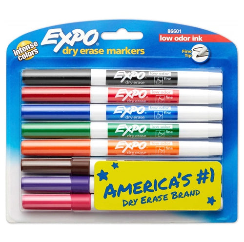 Low-Odor Dry Erase Markers - 8-Count