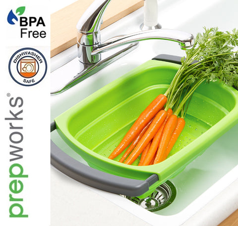Prepworks by Progressive Collapsible Over-the -Sink Colander 可伸縮摺疊矽膠鋅盤筲箕