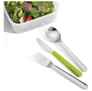 Joseph Joseph GoEat Compact Stainless-Steel Cutlery Set, Green